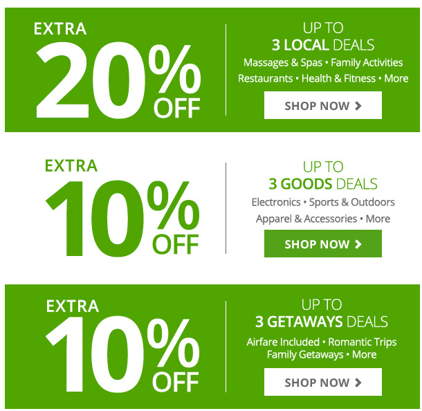 groupon extra 20 off 3 local deals 10 off goods 10