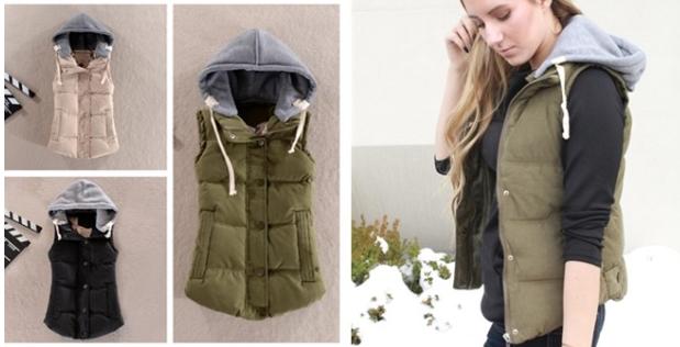 Ladies Puffer Vest With Hoodie