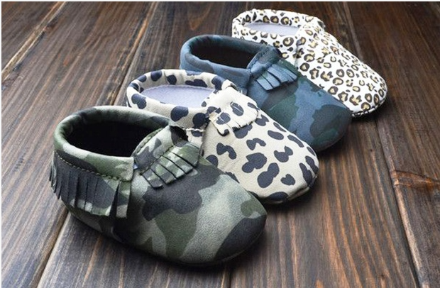 Leather Printed Baby Moccasins