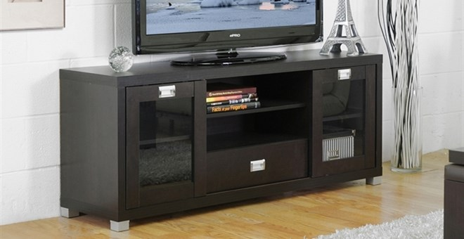 Modern Tv Stand With Glass Doors For 169 99 Storage Cabinet For