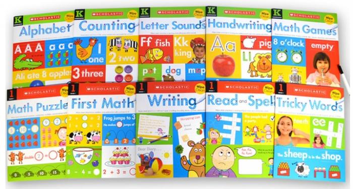 Scholastic Children's Wipe-Clean Book Set with Marker