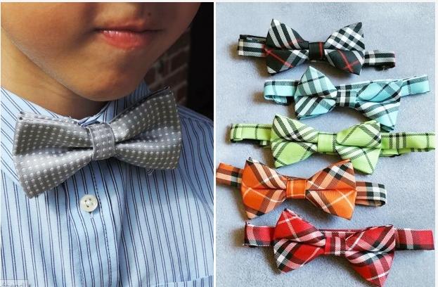 Set of 5 Boy's Polka Dot or Plaid Bow Ties