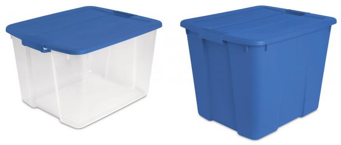Sterilite 66 Qt or 20 Gallon Plastic Latching Storage Totes