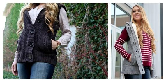 fur lined cable knit vest