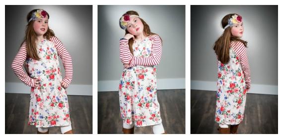 girls long sleeve floral striped dress