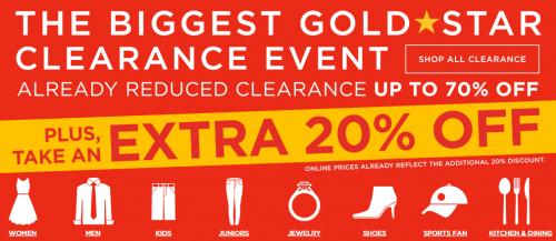 kohls gold star clearance event