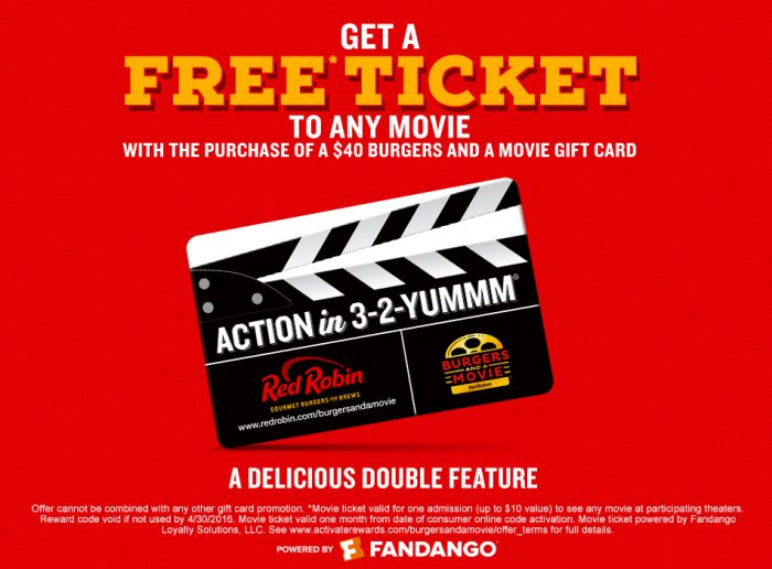 Red Robin 20 Gift Card Free Appetizer 2 Movie Ticket Vouchers