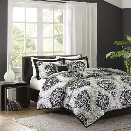 Damask Comforter and Decorative Pillow Set