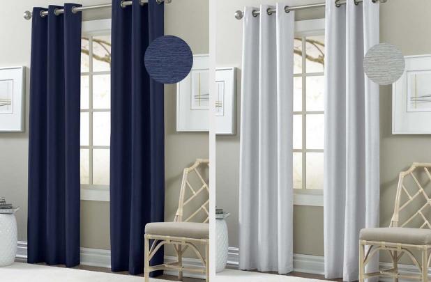 Faux Silk 84-inch Textured Blackout Curtain Panel Pair
