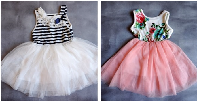 Girl's Garden Party Floral or Stripe Tulle Dresses
