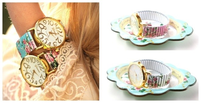 Large Dial Floral Watch