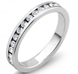 White Gold Plated Simulated Diamond Eternity Band