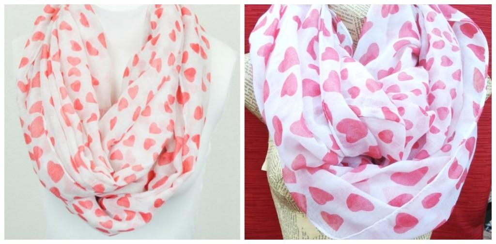 fluffy heart scarves