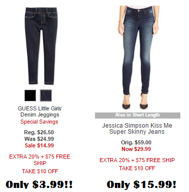 650e60ae12eee For example, there are several girls' GUESS jeans that are on sale for  $14.99. After the automatic $10 off and the 20% off code PRES, they're only  $3.99!