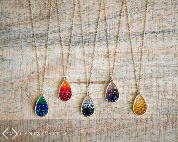 ombre druzy necklaces