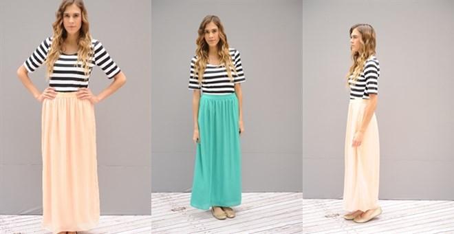 Chiffon Striped Maxi Dress