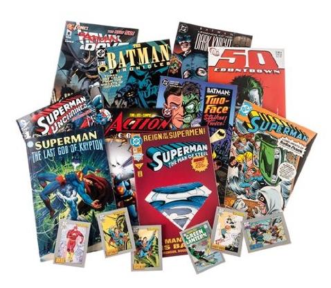 DC Comics Batman & Superman Random Bundle 10 Comic Books plus 6 Trading Cards