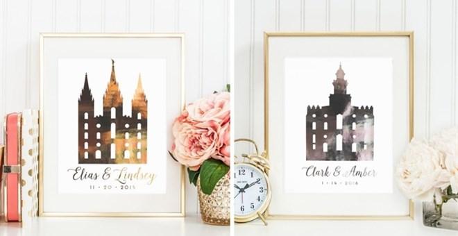 Foild Personalized LDS Temple Wedding Prints