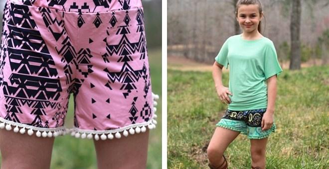 Girls Printed Pom Pom Shorts