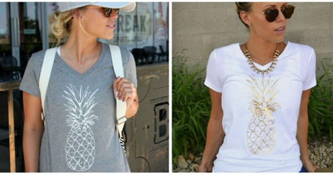 Pineapple Print Boyfriend Tees