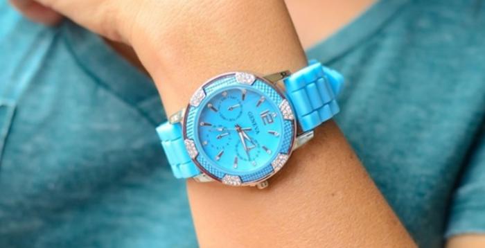 Rhinestone Style Silicone Watch