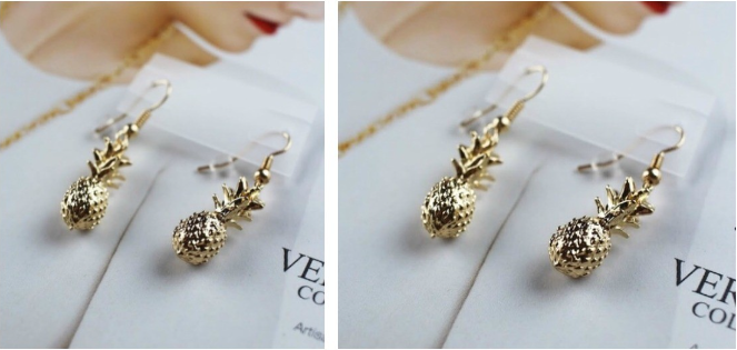 gold pinapple earrings