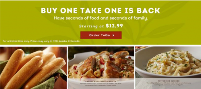 Olive Garden Bogo Lunch Or Dinner Utah Sweet Savings
