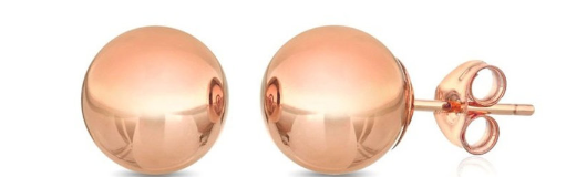 14K Solid Rose Gold Ball Stud Earrings