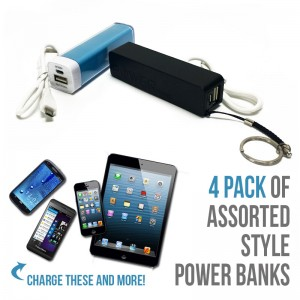 4 Pack of Assorted Style Power Banks