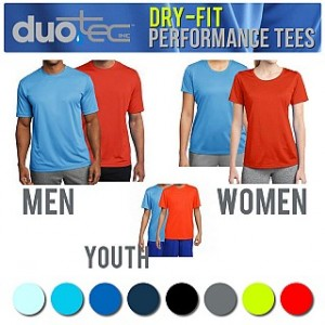 Duo Tec Dry-Fit Performance Tees For Men, Women or Youth