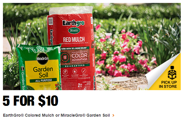 EarthGro Colored Mulch or MiracleGro Garden Soil