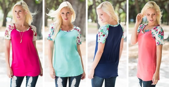 Floral Sleeves Tunic Tee