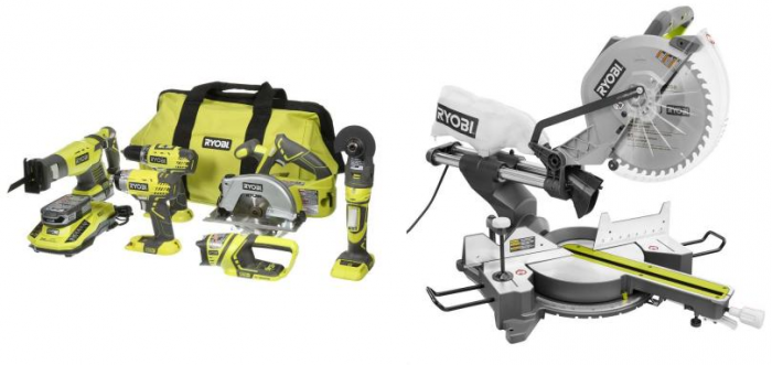 Ryobi 15 Amp 12 in. Sliding Miter Saw with Laser and Ryobi ONE+ 18-Volt Lithium-Ion Ultimate Combo