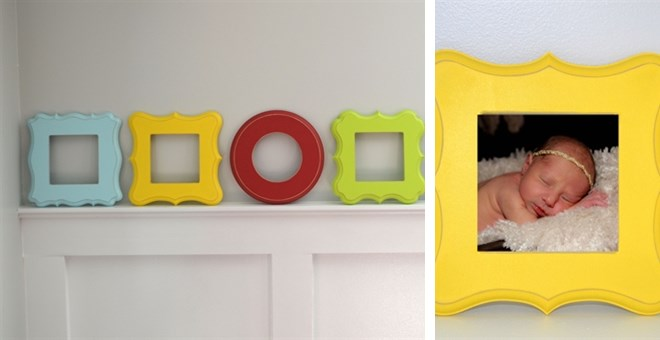 Set of Three 4x4 Unfinished Whimsical Picture Frames
