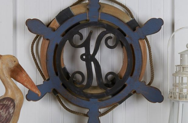 Unfinished Ships Wheel Monogram