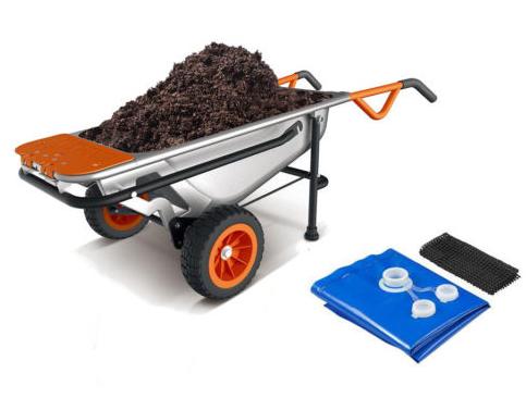 WORX 8-in-1 Aerocart Wheelbarrow Garden Yard Cart + FREE Water Hauler