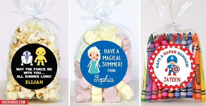 End-of-School Character Stickers & Bags