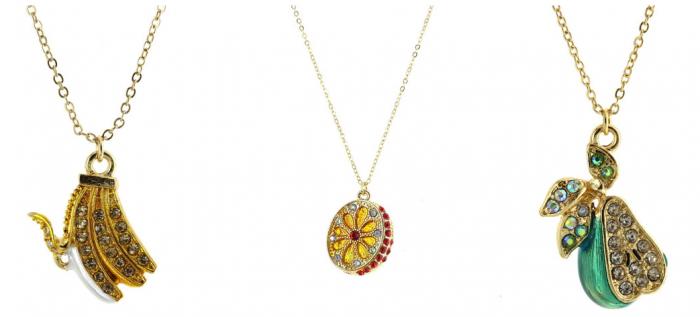Jeweled Banana, Orange, or Pear Pendant Necklace
