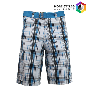Men's Galaxy By Harvic Belted Plaid Cargo Shorts