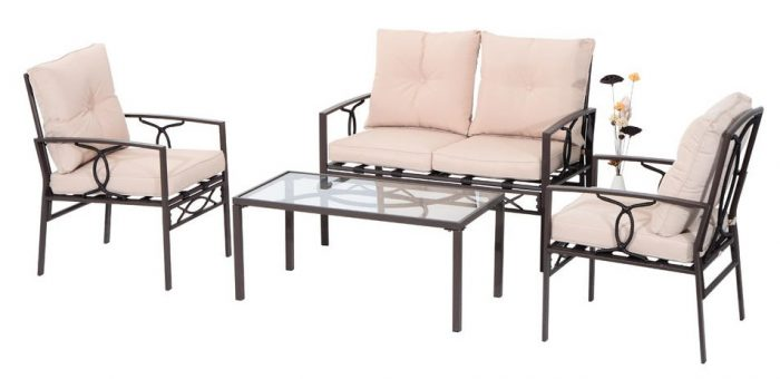 Outsunny 4-Piece Outdoor Rattan Wicker Loveseat and Chair Set