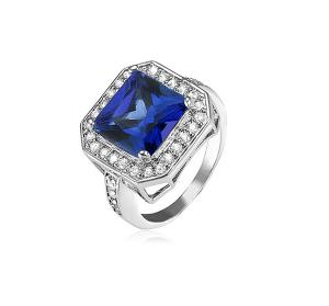 Princess-Cut Blue CZ Ring with Split Shank