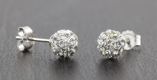Sterling Silver 5mm Crystal Ball Studs