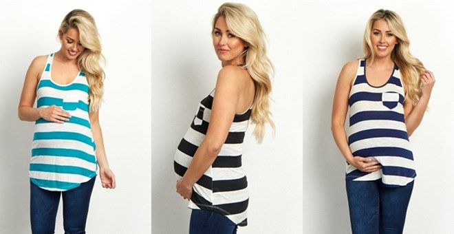 Striped Maternity Racerback Tank Tops