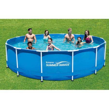 Summer Waves round Metal Frame Above Ground Swimming Pool with Deluxe Accessory Set