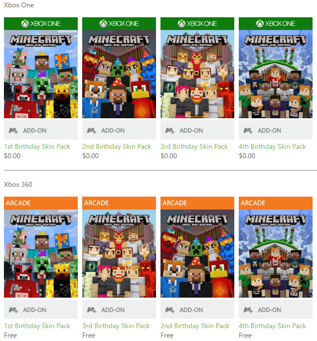 Birthday skin pack (free!!! ) minecraft xbox 360 edition youtube.