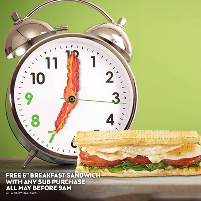 subway free breakfast sandwich
