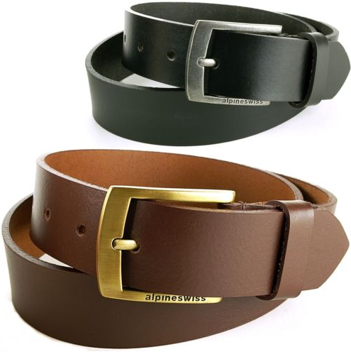 Alpine Swiss Men's Casual Leather Belt
