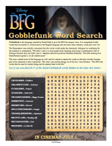 BFG Wordsearch