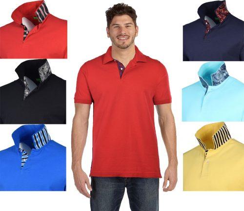 Bristol & Bull Men's Contrast Placket Pique Polo Shirt
