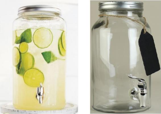 Mason Jar Beverage Dispenser with Chalkboard Label Tag